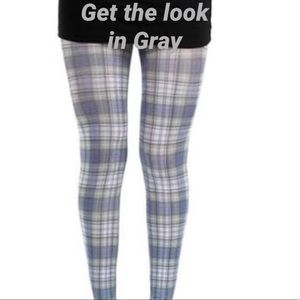 NWT Gray Plaid Footless tights in M/L
